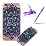 TPU Case for iPhone 6S,Clear Case for iPhone 6,Herzzer Ultra Slim Stylish [Purple Flower Pattern] Soft Silicone Gel Bumper Cover Flexible Crystal Transparent Skin Protective Case for iPhone 6/6S 4.7 inch + 1 x Free Purple Cellphone Kickstand + 1 x Free Purple Stylus Pen