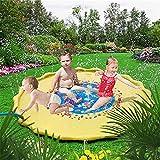 ECMQS Aufblasbar Splash Pad, Sprinkler und Splash Play Matte, Sommer Garten Wasserspielzeug für Baby, Kinder, Hund und Haustiere (Gelb, 170cm)