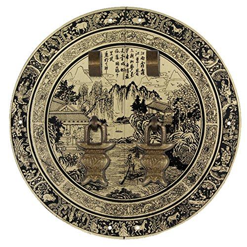 LWXTY Heurtoir,Poignée en laiton Laiton antique manche Porte chinoise Poignée de porte en cuivre de garde-robe Poignée vintage Poignées de meubles Coffret visage plaque double orifice 44cm-T