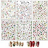 MWOOT 6 Feuilles Christmas Autocollants pour Ongles,Noël Auto-adhésif Nail Art Stickers Decals pour Autocollants à Ongles Conseils Décorations