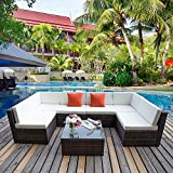 Conservatory Garden Furniture Set Rattan Sofa Lounge Sofa Set Garden Couch Corner Sofa Set Settee