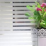 MEXITAL Fensterfolie Sichtschutzfolie Glasdekorfolie, Milchfolie, Fenterfolie mit Streifen für die Büre und zu Hause, Selbstklebend Ohne Klebstoff, Wärmeisolierung, Anti-UV, Leichte Entfernung