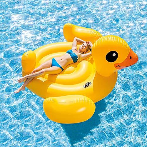 GOERCH Aufblasbar Gelbe Ente Schwimmring Liege Schweben Chwimmreifen Spielzeug Kinder Erwachsene Urlaub Meer Schwimmtier Gummi Schwimmbecken Strand,Yellow-87x87x48inch