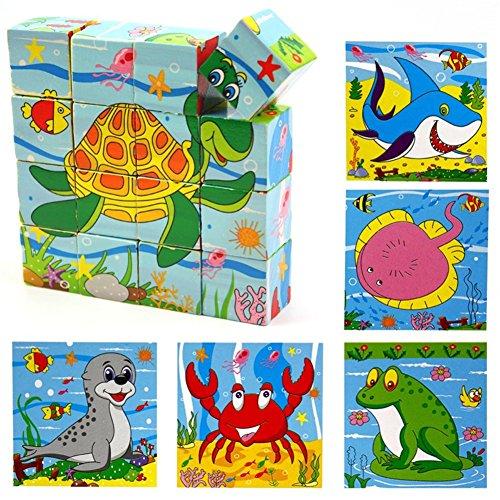 PROW 16 piezas Rompecabezas de madera maciza incluyendo tortuga peces rana sello Tiburón cangrejo cubo bloques de juguete Promover la coordinación mano-ojo Bloques de construcción seguros y no tóxicos