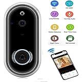 KOBWA Video Türklingel, WLAN Türklingel Hd WiFi Überwachungskamera, Echtzeit-Zwei-Wege-Talk Und Video, Nachtsicht, Pir Motion Detection Und App-Steuerung Für Ios, Android