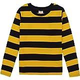 Spring&Gege Camiseta de manga larga a rayas con cuello redondo de algodón