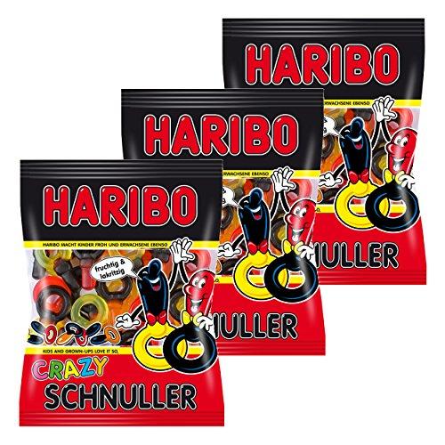 Haribo Crazy Schnuller, 3er Set, Lakritz, Fruchtgummi, Weingummi, Gummibärchen, Im Beutel, 600 g