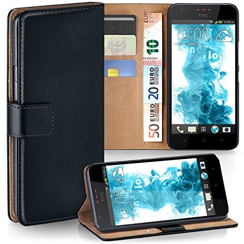 moex HTC Desire 825 | Hülle Schwarz mit Karten-Fach 360° Book Klapp-Hülle Handytasche Kunst-Leder Handyhülle für HTC Desire 825 Case Flip Cover Schutzhülle Tasche