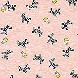 Fabulous Fabrics Jersey Stoff Melange Zebra Kaninchen Miffy– rosa — Meterware ab 0,5m — Oeko-Tex Standard 100 — zum Nähen von Kleidern