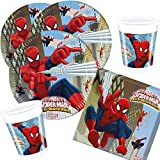 36-teiliges Party-Set Spiderman Web Warriors - Teller Becher Servietten für 8 Kinder