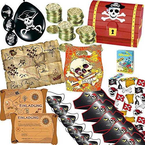 165piezas * Piratas y schatzsuche * Cumpleaños para niños (//Con Tarjeta monedas de oro del tesoro del tesoro cajas Deko Globos invitaciones bolsas de Obsequios etc.//Geocaching Fiesta temática