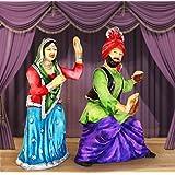 Tied Ribbons Punjabi Couple Bhangra Dancing Resin Showpiece (23.01 cm x 11.99 cm x 19.99 cm)