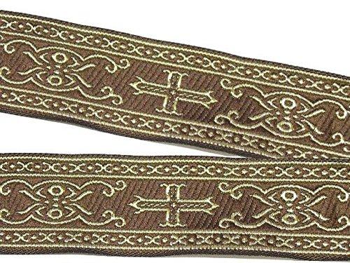 10m Kreuz Borte Webband 35mm breit Farbe: Braun-Gold von 1A-Kurzwaren SM05-brgo-35 (Borte Kreuz)