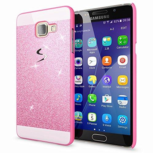 NALIA Custodia Protezione compatibile con Samsung Galaxy A3 2016, Glitter Hard-Case Sottile Cover Protettiva Cellulare, Slim Copertura Rigida Telefono Bumper Scintillio - Pink Rosa
