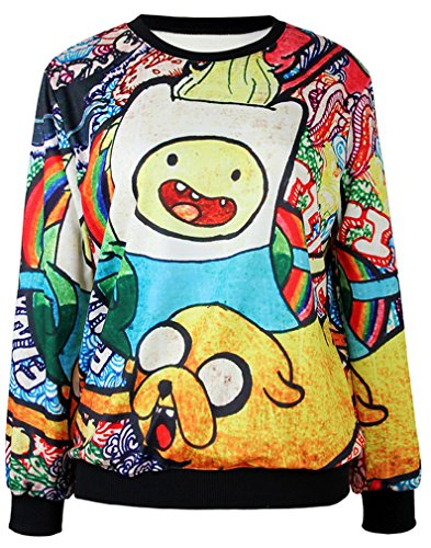 Belsen Donna digitale stampa Lovers T-shirt Felpe (Adventure time)