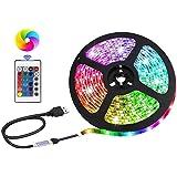 Bande lumineuse LED alimentée par USB, SMD 5050 RGB à changement de couleur avec télécommande 24 touches, rétroéclairage TV D
