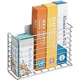 mDesign étagère de cuisine AFFIXX pour ustensiles de cuisine – panier mural à coller – étagère cuisine en métal pour papier a