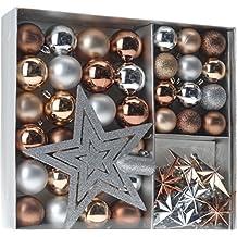 Home&Style 405556 Weihnachtskugeln Set 45-teilig inklusive Baumspitze Im Fensterkarton