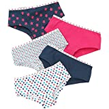 Just Essentials Girls Back To School 5 Pack Cotton Star Print Hipster Briefs - Navy-Pink - 11/12 Years
