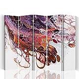Feeby - Raumteiler - Trennwände – Foto Paravent – Spanische Wand - Bedruckt aufLeinwand – Trennwand – Deko Design – Paravent beidseitig - 5 teilig - 360° - 180x150 cm - Mayuko Miura - Farbe Abstrakt Braun Violett Weiß