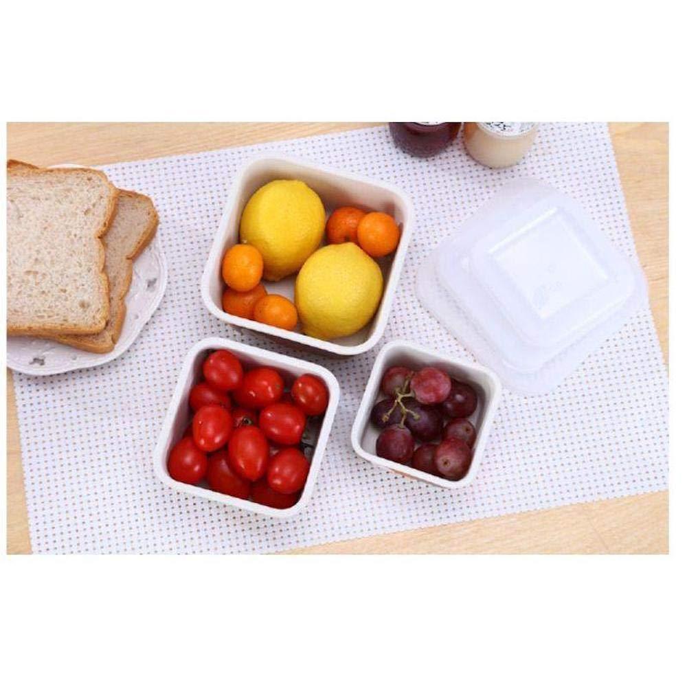 Material Ecol/ógico y Libre de BPA AMTNATURE Set de 3 Contenedores de Bamb/ú Natural Herm/éticos Porta Alimentos Ideal para Bebe e Infantil Apto para lavavajillas