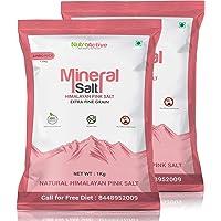 NutroActive MineralSalt Himalayan Pink Rock Salt Extra Fine Grain (0 -0.5 mm) Jumbo Pack-1 kg- Pack of 2
