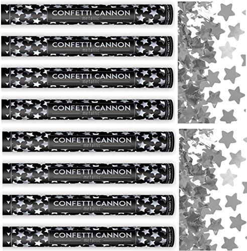 Feste Feiern Hochzeit Party Popper I 8 Teile Konfetti Shooter Sterne Silber Metallic 60cm I Silvester Jubiläum Valentinstag Liebe