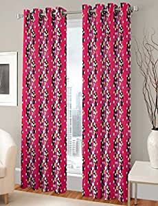 Gharshingar Premium Pink Abstract Polyester Set of 10 Curtains