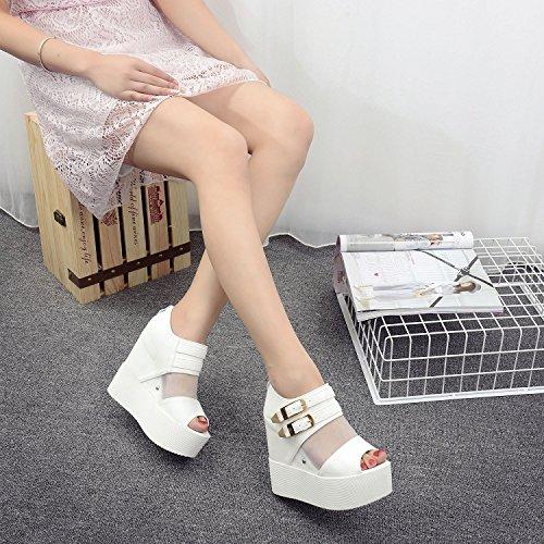GTVERNH-la primavera e lestate e scarpe bianche wedge sandali femminili garza spesso i tacchi night club sexy bocca di pesce scarpe,trentaquattro Thirty-four