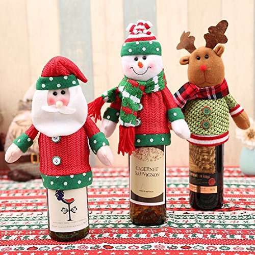 tmas Santa Claus Red Wine Bottle Cover Bags Cute Christmas Gift Holders Dinner Table Decoration Clothes 05 (Ugly Christmas Sweater Ideen)