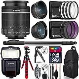 "Canon 18-55mm Is STM Lens + Canon Speedlite 430EX III-RT Flash + 0.43X Wide Angle Lens + 2.2X Telephoto Lens + UV-CPL-FLD Filters + Macro Filter Kit + 72"" Photo/Video Monopod - International Version"
