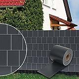 Dazone® PVC Sichtschutzstreifen Zaunfolie Blickdicht inkl. 30 x Befestigungsclips 19 cm x 70 m (Anthrazit RAL7016)