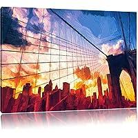 Manhattan a effetto pennello tramonto, formato: 120x80 su tela, XXL enormi immagini completamente Pagina con la barella, stampa d'arte sul murale con telaio, più economico di pittura o un dipinto a olio, non un manifesto o un