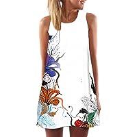 ITISME Vestiti Donna Eleganti, 2020 Sconto Pasqua Mini Abito Corto da Donna 3D Stampa Floreale Allentata Vintage A Senza…
