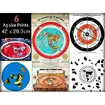 Flat Earth 6 (a3 size) Poster Print Maps Bundle - Gleasons 1892 + Abizaid 1920 + Ferguson 1892 + Voliva 1923 + Azimut USGS + Buddhist 1907
