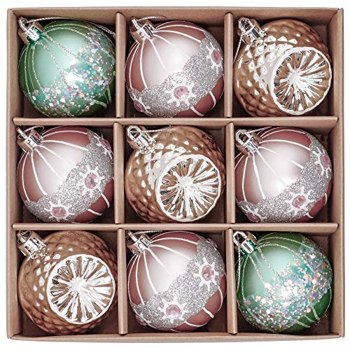 Valery madelyn palline di natale 9 pezzi 6cm plastic palline di natale decorazione natalizia con appendiabiti per la decorazione natalizia elegante palace theme mint green pink gold