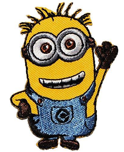 """Bügelbild - """" Minion - Tom / Phil """" - 5,5 cm * 7 cm - Aufnäher Applikation - Minions / Ich einfach unverbesserlich - gestickter Flicken - Jungen & Mädchen - Despicable Me - Stuart Steve Mark Kevin - Tim"""