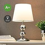 Tischlampe Minna (Modern) in Chrom aus Metall u.a. für Wohnzimmer & Esszimmer (1 flammig, E14, A+, inkl. Leuchtmittel) von Lampenwelt | Textil-Tischleuchte, Wohnzimmerlampe