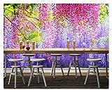 Fototapete Foto Fototapete Tapete Für Das Zimmer Aquarell Glyzinie Blumenblätter Fototapete Für Wände Home Decoration, 250Cmx175Cm