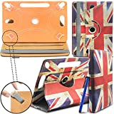 New Design TAN Universal Leather 360 degree Stand Case Cover For Kindle Fire HD 7-inch Tablet PC - Union Jack ( Designer - Folio - Colourful ) by Gadget Giant®