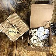 10 Profumatori ecologici a forma di cuore in cera di soia e olio essenziale alla lavanda in scatola con confet