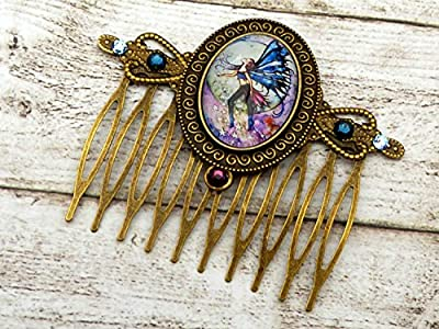 Peigne à cheveux elfe, accessoires de cheveux conte de fées, bronze bleu violet