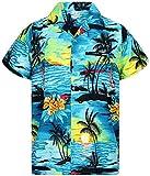 Funky Camicia Hawaiana, Surf, turchese, XL