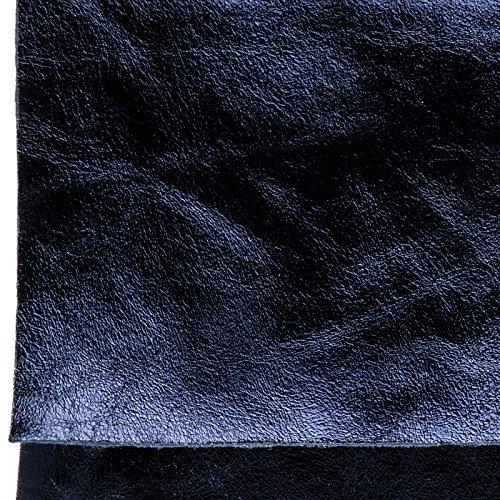 CASPAR TL770 große Damen Metallic Envelope Leder Clutch Tasche Abendtasche Dunkelblau