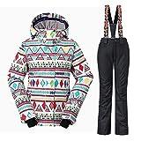 Wonny 2 Teilig Skianzug Wasserdicht Schneeanzug Jacke und Hosen Unisex Skiset Schwarz M