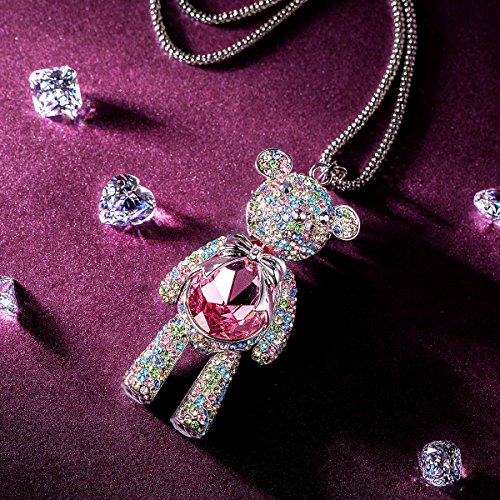 """Pauline & Morgen """"Teddy Bear"""" Pink SWAROVSKI ELEMENTS Crystal Pendant Women Necklace Birthday Valentines Mothers Day Christmas Anniversary Wedding Gifts for Wife Girl Mother Daughter"""