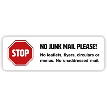 2 x No Junk Mail Sticker Set - Self-adhesive Sign in White for Door or Letterbox (Medium 99 x 33 mm)