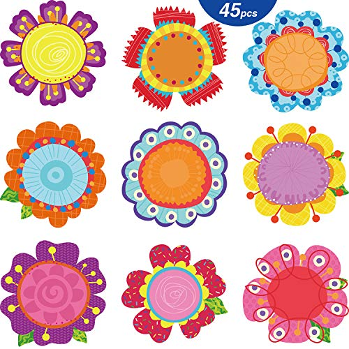 45 pezzi fiori ritagli fiori primavera fiori sbocciastili versatili fiori colorati decorazione aula fustella con punti di colla per bacheca scuola festa a tema primavera estate, 5.9 x 5.9 pollici
