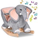 BAKAJI Elefante a Dondolo Cavalcabile Peluche Giocattolo per Bambini con Effetti Sonori Maniglie e Cintura di Sicurezza (Elef