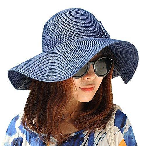 Lucky è tesa larga, con fiocchetto, Cappello da sole estivo in paglia Beach-Cappello con visiera da donna Blu profondo